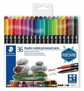 36pk Staedtler Twin Tip Permanent Paint Markers Brush Pens Set Rock Glass Fabric