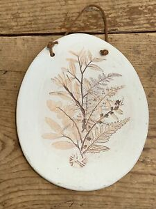 Nature Art Ceramic Raised Relief Wall Plaque Flower  Signed flower Leaves