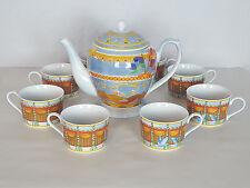 MONTGOLFIERE Williams-Sonoma Fine Porcelain Hot-Air ballons Tea Pot with 6 cups