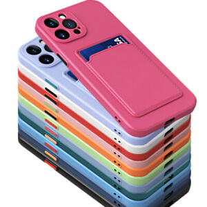 Case For iPhone 13 12 Pro Max 11 X XR 8 7+ Shockproof Silicone Card Holder Cover