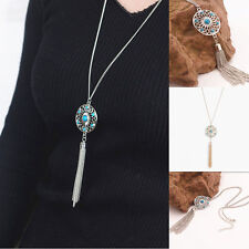 Women Fashion Jewelry Retro Turquoise Feather Charm Pendant Long Chain Necklace