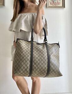 Authentic GUCCI Brown Monogram GG SUPREME Tote Bag SHOPPER carry All Purse LARGE