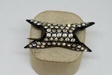 Vintage Estate Curved Black Celluloid Rhinestone Pin Brooch Jewelry