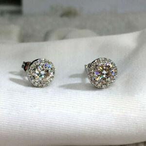 18K White Gold 2.15 ct Diamond White Crystal Cluster Stud Earrings 306