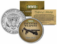 STEN GUN * WWII Infantry Weapons * JFK Kennedy Half Dollar U.S. Coin