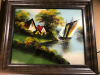 """Antique """"Home And River Landscape Scene"""" Reverse Oil On Glass Painting - Framed"""