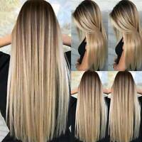 Women's Blonde Wig Ombre Long Brown Gold Straight Black Synthetic Hair Wigs US