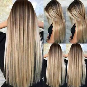 Women's Blonde Wig Ombre Long Brown Gold Straight Black Synthetic Hair Wigs^