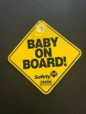 Safety 1st Baby On Board Yellow Warning Caution Sign Car Truck Van Suction Cup