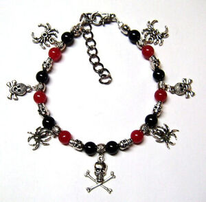 GOTHIC BLACK AND RED GEMSTONE BEADS WITH SKULLS SPIDERS CHARMS ANKLET