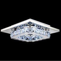 Modern LED Ceiling Light Crystal Square Chandelier Pendant Lamp Hallway Lighting