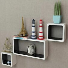 3 White Black Hanging Floating Wall Cubes Display Shelf Mount Collection Storage