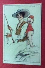 CPA. Illustrateur MAUZAN. Jeune Femme. Petit Groom. Cravache. Charme. N°10-4