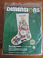 Dimensions Santa & Tree Crewel Embroidery Stocking Kit Arleen Hoeweler