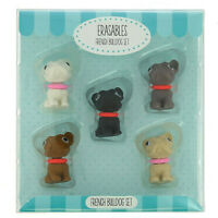 Novelty Erasers French Bulldogs Rubbers New box Collectable School kids Gift
