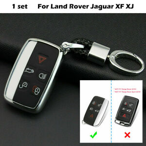 Silver Car Keychain Fob Cover Case Accessories For Land Rover Jaguar XF XJ DN