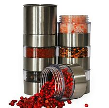 Stainless Steel 6 Jar Salt Pepper & Spice Grinder Mill Set With Ceramic Grinder