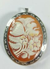 Antique style italian hand carved shell cameo pendant and pin , sterling silver