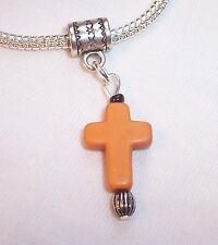 Orange Stone Cross Christian Dangle Bead fits Silver European Charm Bracelets