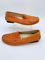 Saks Fifth Avenue Womens Round Toe Slip On Loafers Shoes Orange Size 6