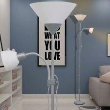 vidaXL Lámpara de Pie Acero Pintura Gris 2 Luces Interruptores Luz Suelo Casa