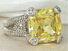Judith Ripka Sterling Silver Canary Crystal & Diamond Fontaine Ring-Size 6.75