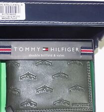 TOMMY HILFIGER Double Billfold Dark Olive, Fighting Stags, Leather, New w/Box