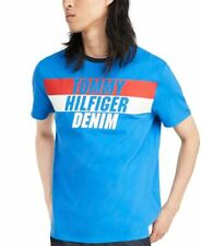 BNEW Tommy Hilfiger Denim Men's Terry Logo Graphic T-Shirt, Sky Diver, Medium