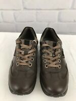 ECCO Women's Brown Leather Lace Up Casual Sneakers Shoes US Size 7-7.5 EU 38