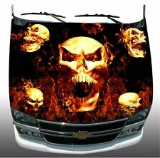 Screaming skulls flame fire Hood Wrap Wraps Sticker Vinyl Decal Graphic