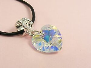 Genuine LEATHER Cord NECKLACE made with SWAROVSKI Crystal AB Heart / STAR/ Moon