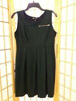 Valerie Bertinelli Womens Green Black Chevron Striped Dress Sz 12