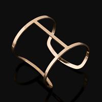 Luxury Women Gold Hollow Out Wide Punk Open Cuff Bangle Bracelet Fashion Jewelry