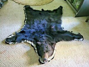 BLACK BEAR SKIN RUG FUN FAUX 60in Long