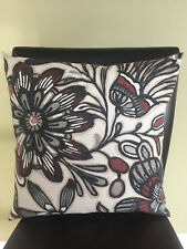 Decorative Pillow Cover Brown Black Gray Cream Off White Large Floral Pattern