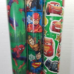 Wrapping Paper Roll Christmas 40 Sq Ft DC SpiderMan SuperMan Batman Flash Cars