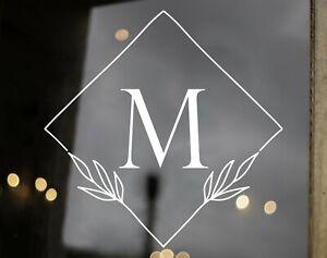 Monogram in Diamond Wreath Vinyl Decal - Family Name Initial - Die Cut Sticker