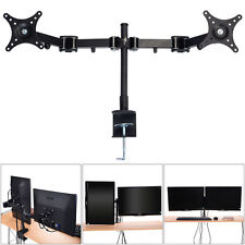 Dual Monitor Arm Desk Table Mount Stand/For 2 LCD Fully Swivel Clamp upto 27""