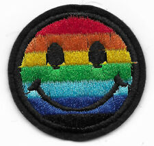 Rainbow Smiley Face Pride embroidered iron or sew on patch