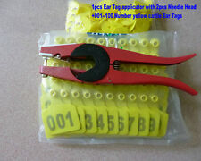 001--100 Number Yellow cattle Ear Tags + ear tag forcep