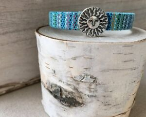 NEW! Aztec Leather Silver Wrap Bracelet with Pewter Sun Slider