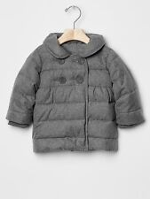 GAP Baby Toddler Girl Size 18-24 Months Gray Herringbone Puffer Jacket Pea Coat