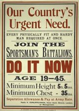 SPORTSMAN BATTALION - OUR COUNTRY'S URGENT NEED British WW1 Propaganda Poster