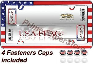 USA AMERICAN FLAG CHROME LICENSE PLATE FRAME/CAR /TRUCK TAG COVER / HOLDER CAPS
