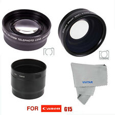 WIDE ANGLE MACRO LENS + TELEPHOTO ZOOM LENS FOR CANON POWER SHOT G15