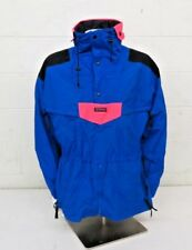 Vintage Columbia Sportswear Blue Pullover Shell Jacket w/Neon Pink Accents Men L