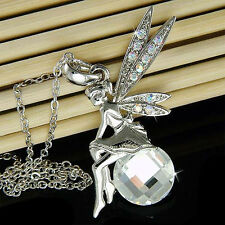 w Swarovski Crystal Fairy ~TINKERBELL~ Tinker Angel Magic Ball Pendant Necklace