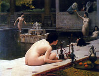 Oil painting Jean-Leon Gerom - The Teaser of the Narghile women bathing canvas