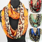 Women Vintage Scarves Leopard&Plaid Print Soft Chiffon Casual Infinity Scarf New