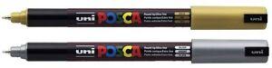 Uni-Ball Uniball POSCA PC-1MR Ultra Fine Marker Pens GOLD & SILVER PACK of 2